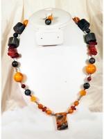 Jasper, Amber, Carnelian, Moonstone, Vintage Lucite necklace