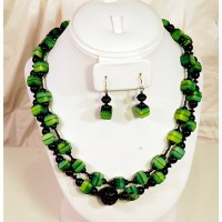 Green Cube with Ebony Necklace and Earing set