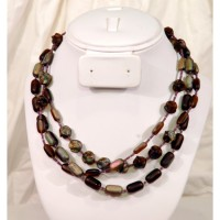 Tri-Strand Iris and Brown Necklace