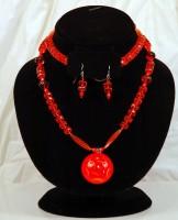 Orange Rose Necklace and Earing set