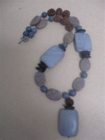 Necklace Grey Marble with Rudraksha Beads